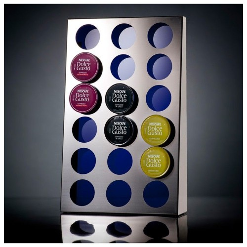 Decorative storage for Nespresso and Dolce Gusto capsules.