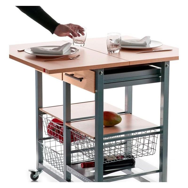 Verdulero convertible en mesa plegable for Mesa camarera cocina