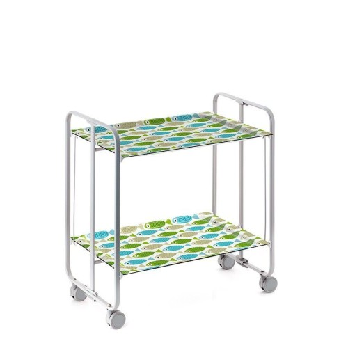 table roulante pliante ch ssis gris 2 tages. Black Bedroom Furniture Sets. Home Design Ideas
