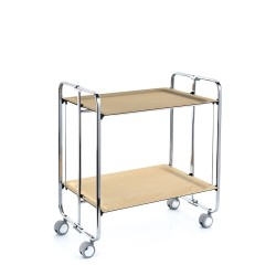 Rolling and foldable tea trolley, 2 levels