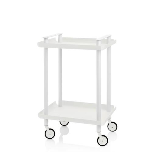 Chariot Leky, 2 plateaux. Structure tube à double montant blanc. 7 couleurs disponibles pour les plateaux Acier laqué peinture E