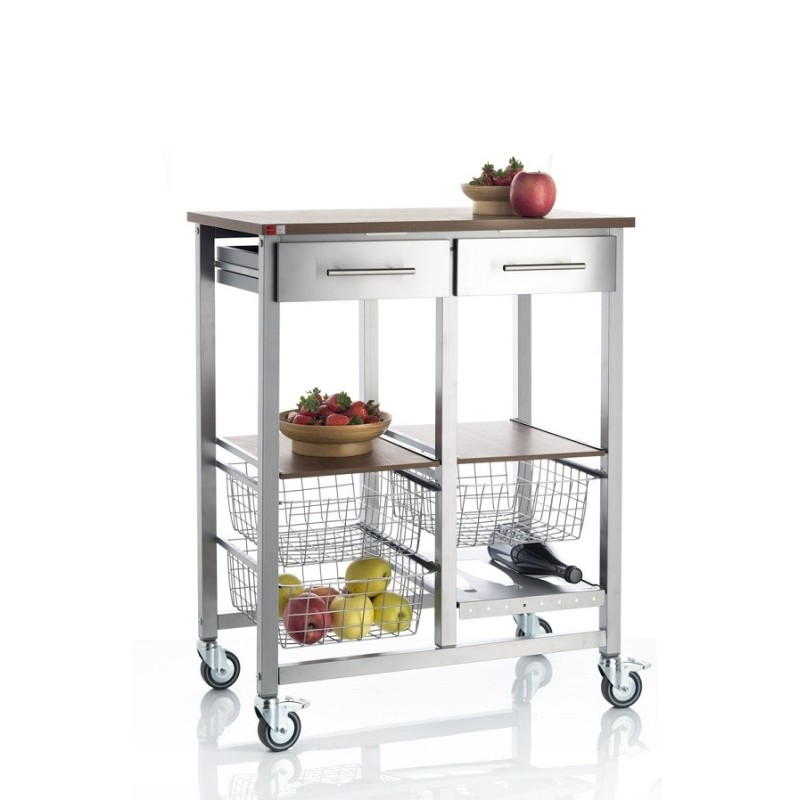 Carrello da cucina doppio onda alluminio ciliegio - Cucina doppio angolo ...