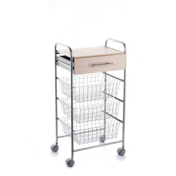 ALESIA, Vegetable trolley for the kitchen. Beech colour board.