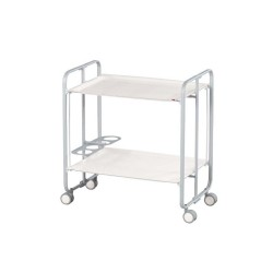 Serving Trolley with bottle-rack, white frame
